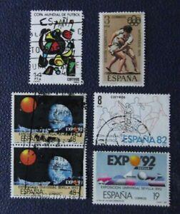 sellos-Espana-Lote-de-6-Stamp-variados-expo-92-Espana-82-etc-usados