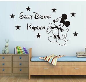 sweet dreams mickey mouse wall art sticker decal quote kit boys