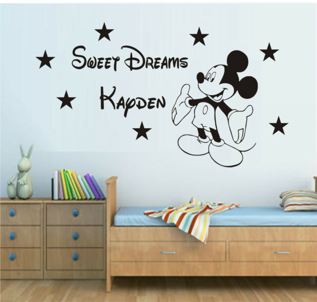 SWEET DREAMS MICKEY MOUSE WALL ART STICKER DECAL QUOTE KIT BOYS BEDROOM NURSERY