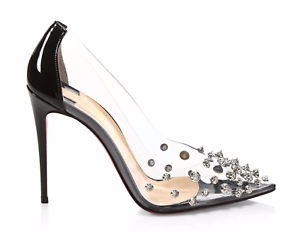ca3367f0020 Christian Louboutin Collaclou 100 Black Patent PVC Silver Stud Heel ...
