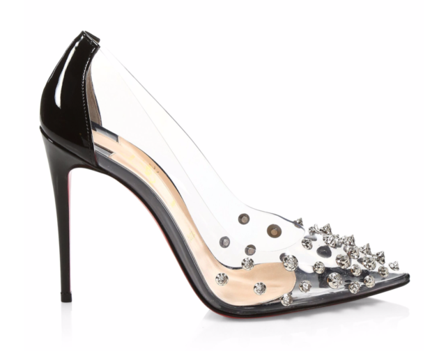 0b7694d8bfa Christian Louboutin Collaclou 100 Black Patent PVC Silver Stud Heel Pump  37.5