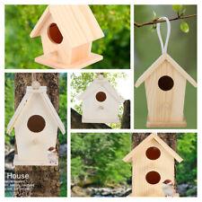 4X Wooden Bird House Garden Nursery Decorative Birds Nest Outdoor Birdhouse New