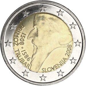 slovenia 2 euro coin 2008 primo trubar unc ebay. Black Bedroom Furniture Sets. Home Design Ideas