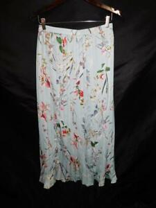 Bebe-Size-2-Light-Blue-Red-Pink-Floral-Pleated-Maxi-Skirt-A-Line-XS-S