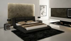 Details about Wave Contemporary Queen Bedroom Set in Black, 3-Piece