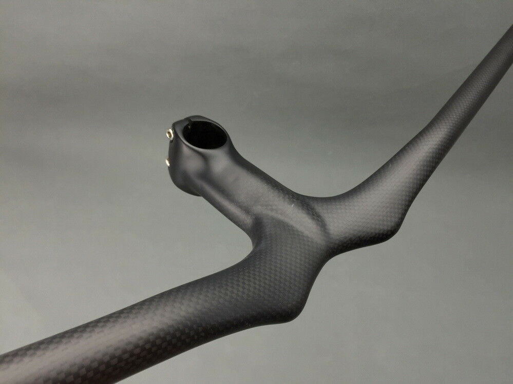 Carbon MTB Road Bike Riser flat Handlebar 58-72 Integrated Bar Stem 9-12cm White
