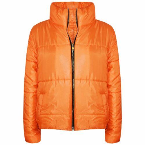 Girls Jacket Kids Orange Wetlook Cropped Padded Quilted Puffer Jackets Coat 5-13