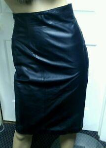 523ce2c34 Byrnes & Baker Vintage 80s Leather Skirt Black Pencil High Waist ...