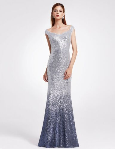 Ever-Pretty Sequins Mermaid Prom Cocktail Dance Evening Party Ball Gown Burgundy