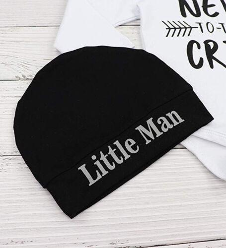 Long Pants+Hat Outfits 3PCS Infant Baby Boys Clothes Letter Print Romper Tops