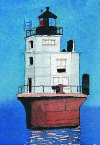 Smith Point Lighthouse Chesapeake Bay, Virginia. Watercolor Notecards