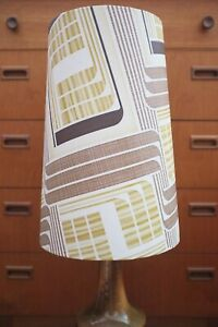 Original-60s-70s-Paper-Lampshade-Extra-Tall-Conical-White-Brown-Geometric