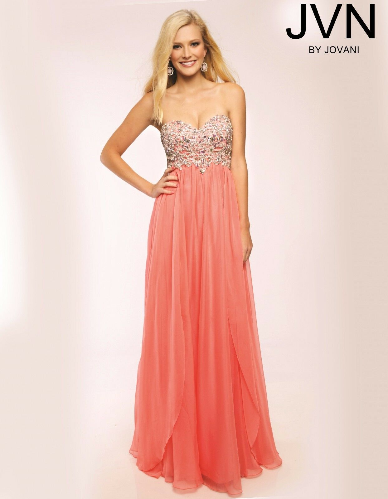Jovani Coral Strapless Sweetheart Embellished Bodice Prom Dress Size 8 NWT