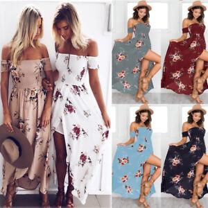 Boho style long dress women Off shoulder beach summer Printed Floral ... d93c76db5