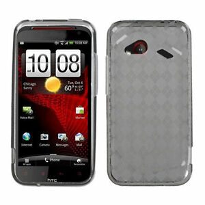 For-HTC-Droid-Incredible-FLEXI-TPU-Candy-Hard-Skin-Case-Cover-Smoke-Plaid