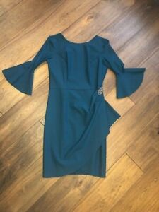 285-ALEX-EVENINGS-WOMENS-EMBELLISHED-RUCHED-SHEATH-COCKTAIL-DRESS-TEAL-SIZE-12
