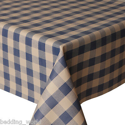 """1m//39/"""" blue gingham wipe clean vinyl pvc oilcloth cover wipeable TABLE CLOTH CO"""
