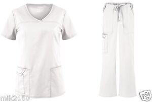 Cherokee Scrubs Premium Core Stretch White Set XXS-3XL Top 4727 Pant 4044 NWT