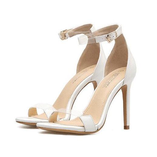 Sandale stiletto eleganti tacco 12 cm bianco stiletto simil pelle eleganti 1161