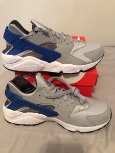 Nike Air Huarache Running Shoes Wolf Grey Game Royal Blue SZ 8 ( 318429-036 )