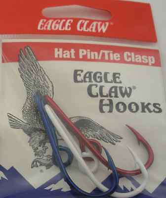EAGLE CLAW RED WHITE BLUE HAT HOOK SET 3CT 7304
