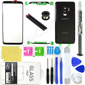 For-Samsung-Galaxy-S9-Plus-G965-Black-Front-Screen-Glass-Back-Replacement-Kit