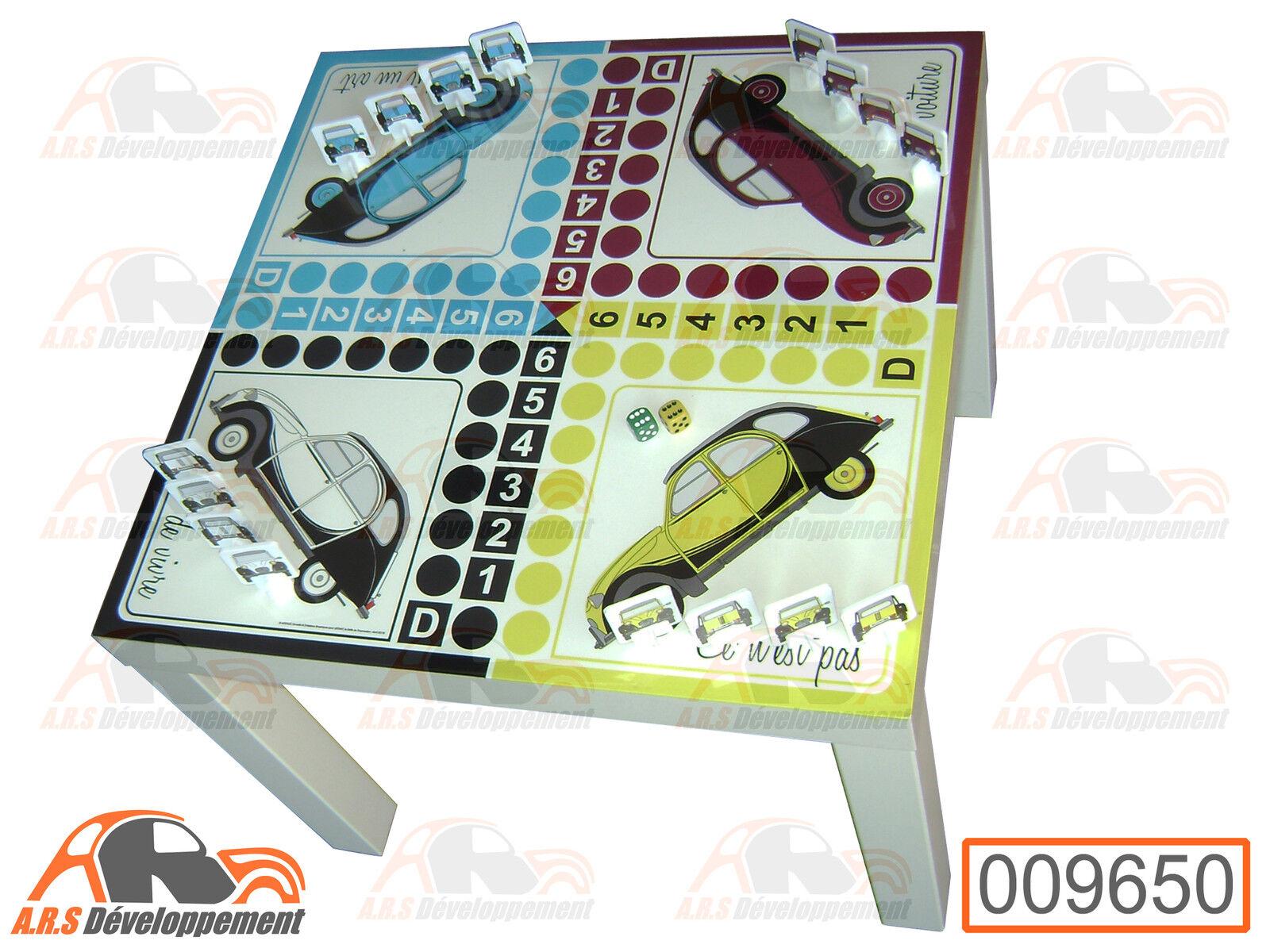 TABLE (55x55cm, H45cm) de jeu 2  petits  CHEVAUX (Citroen 2CV)  -9650-