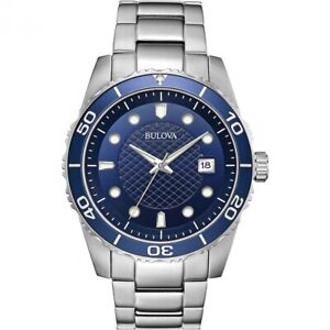 Bulova Men's Quartz Blue Dial Rotating Bezel Calendar Date 44mm Watch 98A194