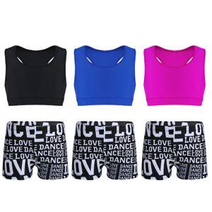 Mädchen Zweiteiler Sport Set Tank Top mit Shorts für Ballett Tanz Gym Workout