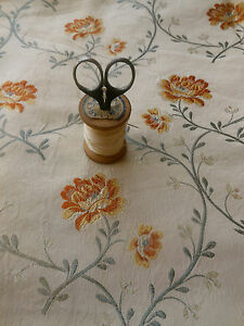 Antique-Vintage-French-Roses-Vines-Brocade-Fabric-1-yellow-gold-gray-sand-beige