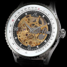 KS Skeleton Mens Hollow Black Leather Automatic Mechanical Sport Wrist Watch