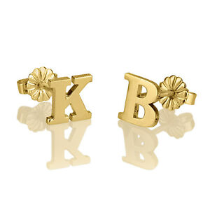 Image Is Loading Gold Initial Stud Earrings Plated Personalized