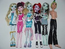 Monster High 6 Doll Lot (Includes Everything Shown On Dolls) As Is Lot