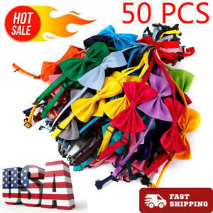 50-Pcs-Dog-Cat-Bow-Tie-Adjustable-Necktie-Collar-Bowtie-Pet-Random-Colors-LOT-US