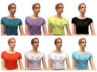 Brand New Ladies Cycle Print Womens Short Sleeves Belly Crop Top T-Shirt UK 8-12