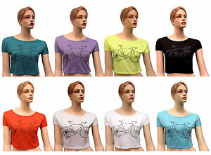 Brand-New-Ladies-Cycle-Print-Womens-Short-Sleeves-Belly-Crop-Top-T-Shirt-UK-8-12