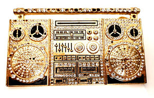 Old-School-Annees-80-Retro-Hip-Hop-Boom-Box-Ghetto-Blaster-Ton-Or-Boucle-de-ceinture