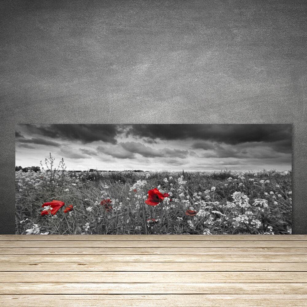 crédence de cuisine en fleurs verre panneau 125x50 nature fleurs en