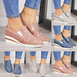 Fashion-Women-039-s-Platform-Hidden-Wedge-Loafers-Sneakers-Slip-On-High-Heels-Shoes