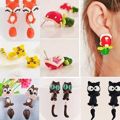 1Pair Punk Women Cute 3D Animal Earrings Kitten Ear Jewelry Cat Fox Ear Stud NEW