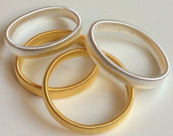 2 Paia Di Metallo Sulla Manica Titolari Giarrettiere Argento E Oro Camicia Elasticizzata Braccio Bande Prodotti Di Qualità In Base Alla Qualità
