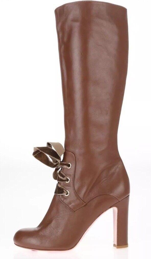 lo stile classico RED VALENTINO 7392 Lace-Up Tall Tall Tall avvio Marrone  Leather Dimensione 39.5  750  bellissimo