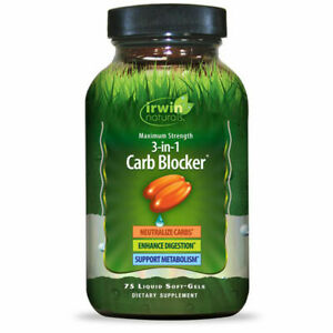 Irwin Naturals Maximum Strength 3-in-1 Carb Blocker, 75 Liquid Soft Gels