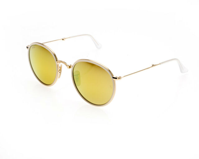 Ray-Ban Rb3517 001/93 Round Folding Gold Frame Yellow Flash 48mm ...