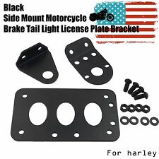 BLACK Side Mount Motorcycle Brake Tail Light License Plate Bracket For Harley
