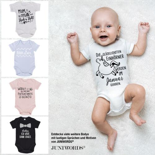 "JUNIWORDS Babybody Kurzarm /""Born to Play/"" 100/% BW Wähle Farbe /& Größe Mädchen"
