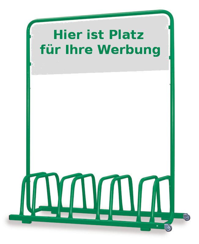 4er Fahrradständer mit Werbe-Schild & Rollen - grün grün - - ae50e5