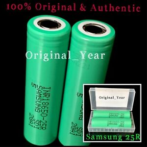 2-Samsung-25R-18650-2500mAh-35A-Rechargeable-Battery-for-Vape-Mods-Free-Case
