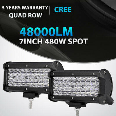 "2PCS Quad Row 7/"" Inch 480W Led Work Light Bar SPOT Offroad Driving 4WD Truck ATV"