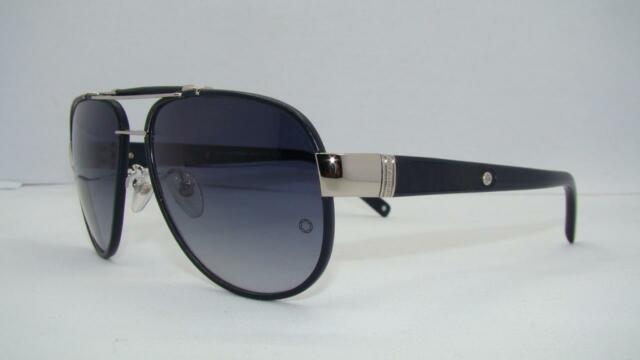 Mont Blanc MB 367S 16W Shiny Palladium Leather Blue Gradient Sunglasses Size 61